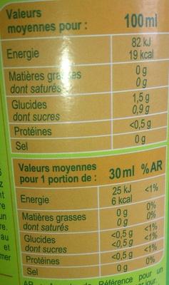 Spécialité au Citron - Informations nutritionnelles