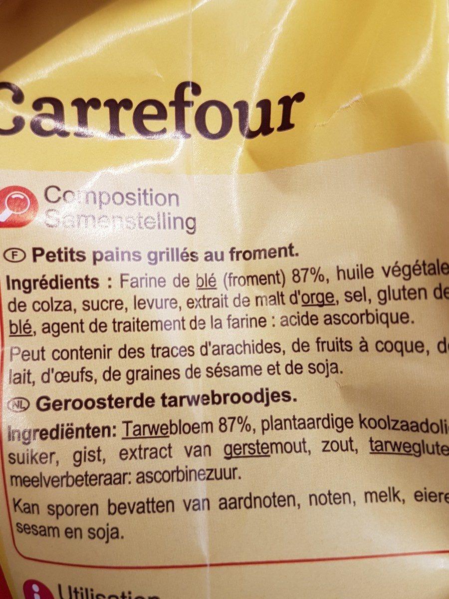 Petits pains grilles - Ingrediënten - fr