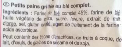 Petits pains grilles - Ingredienti