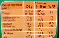 Pain grillé très pauvre en sel - Informations nutritionnelles - fr