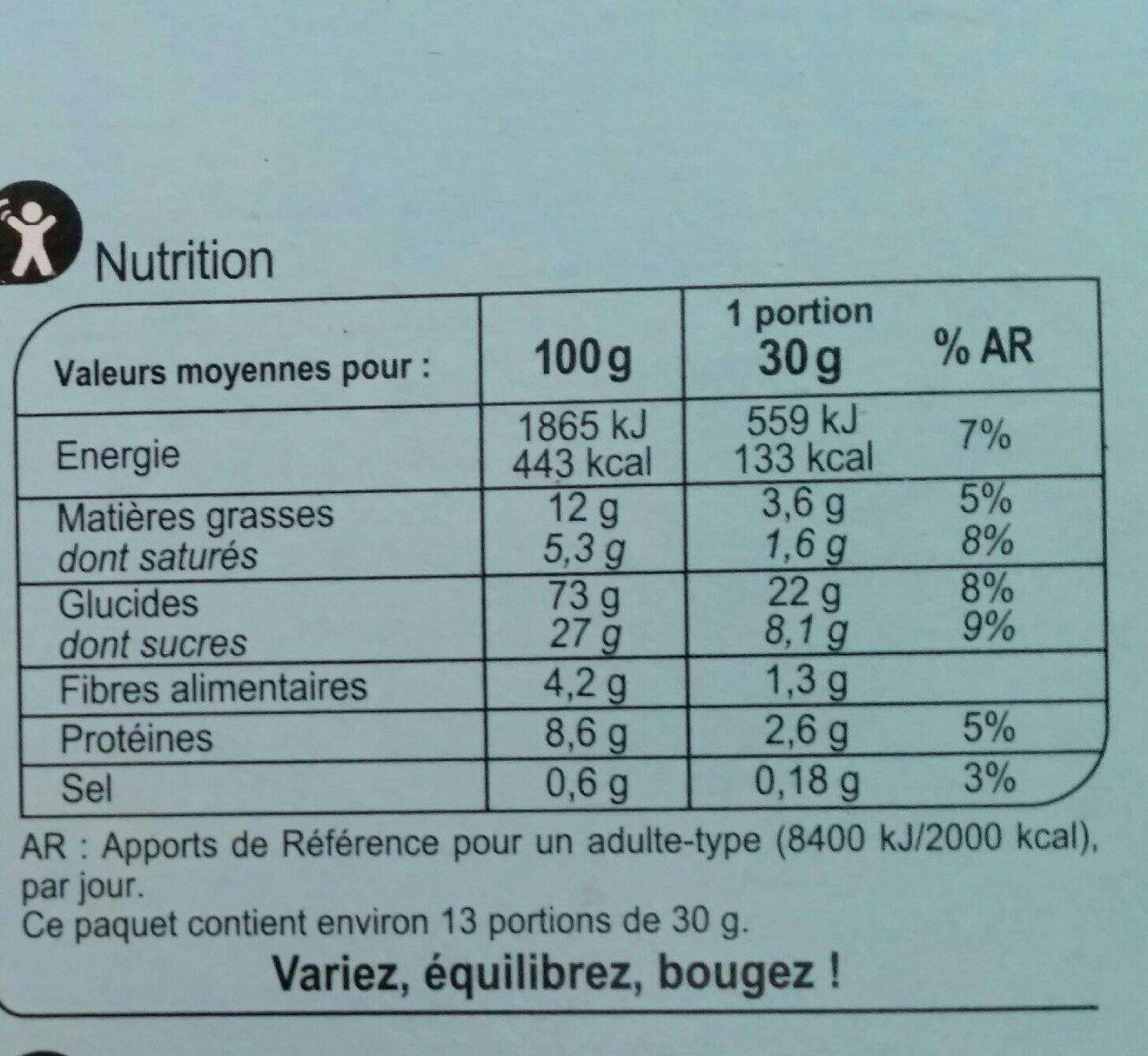 Xtrem lait - Cœur fondant - Voedingswaarden - fr