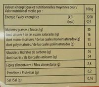 Assortiment de chocolats - Informació nutricional