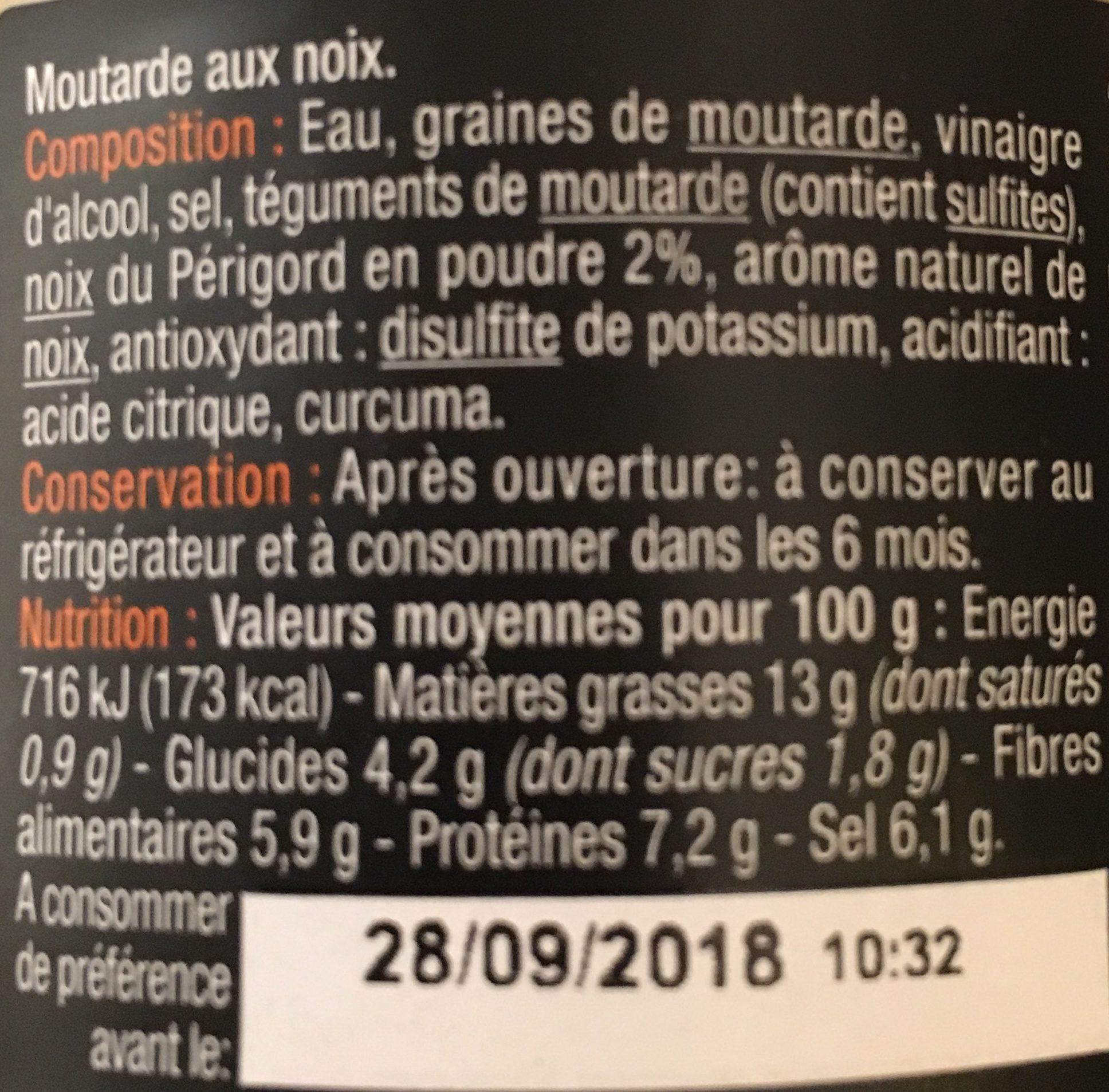 Moutarde aux noix - Ingredients - fr