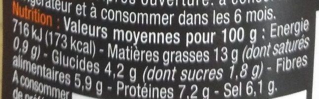 Moutarde aux noix - Nutrition facts - fr