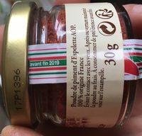 Piment d'Espelette AOP - Ingredients