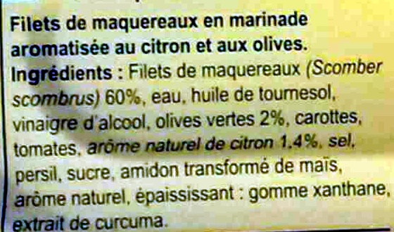 Filets de maquereaux - Ingredients