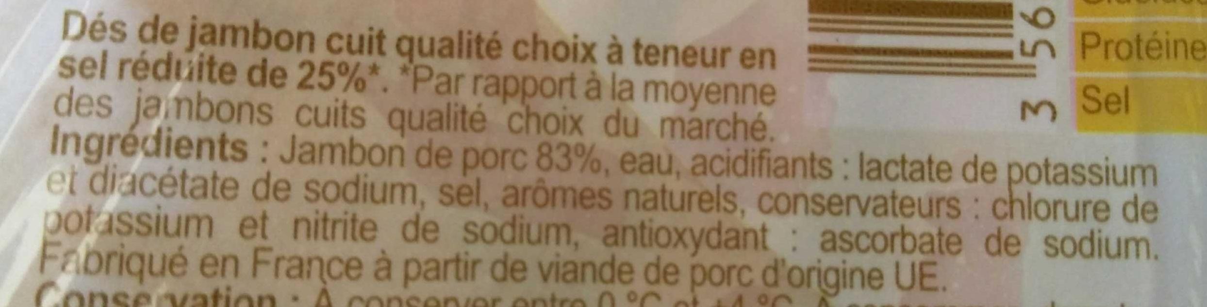 Dés de Jambon (- 25 % de Sel) - Ingredients - fr