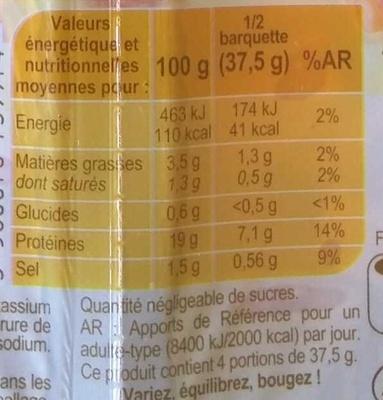 Dés de Jambon (- 25 % de Sel) - Nutrition facts