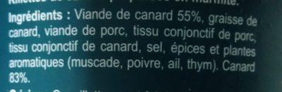 Rillettes de Canard préparées en marmite - Ingrédients - fr
