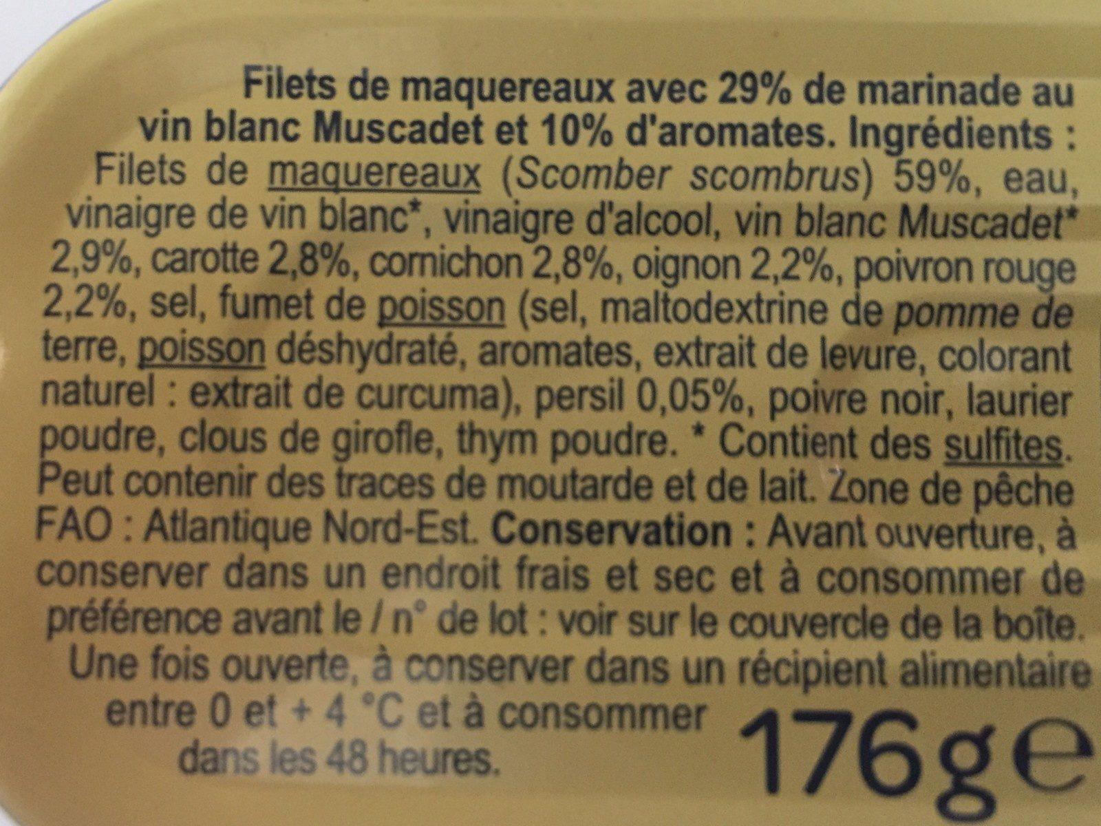 Filets de maquereaux marinés au muscadet et aux 5 aromates - Ingredients