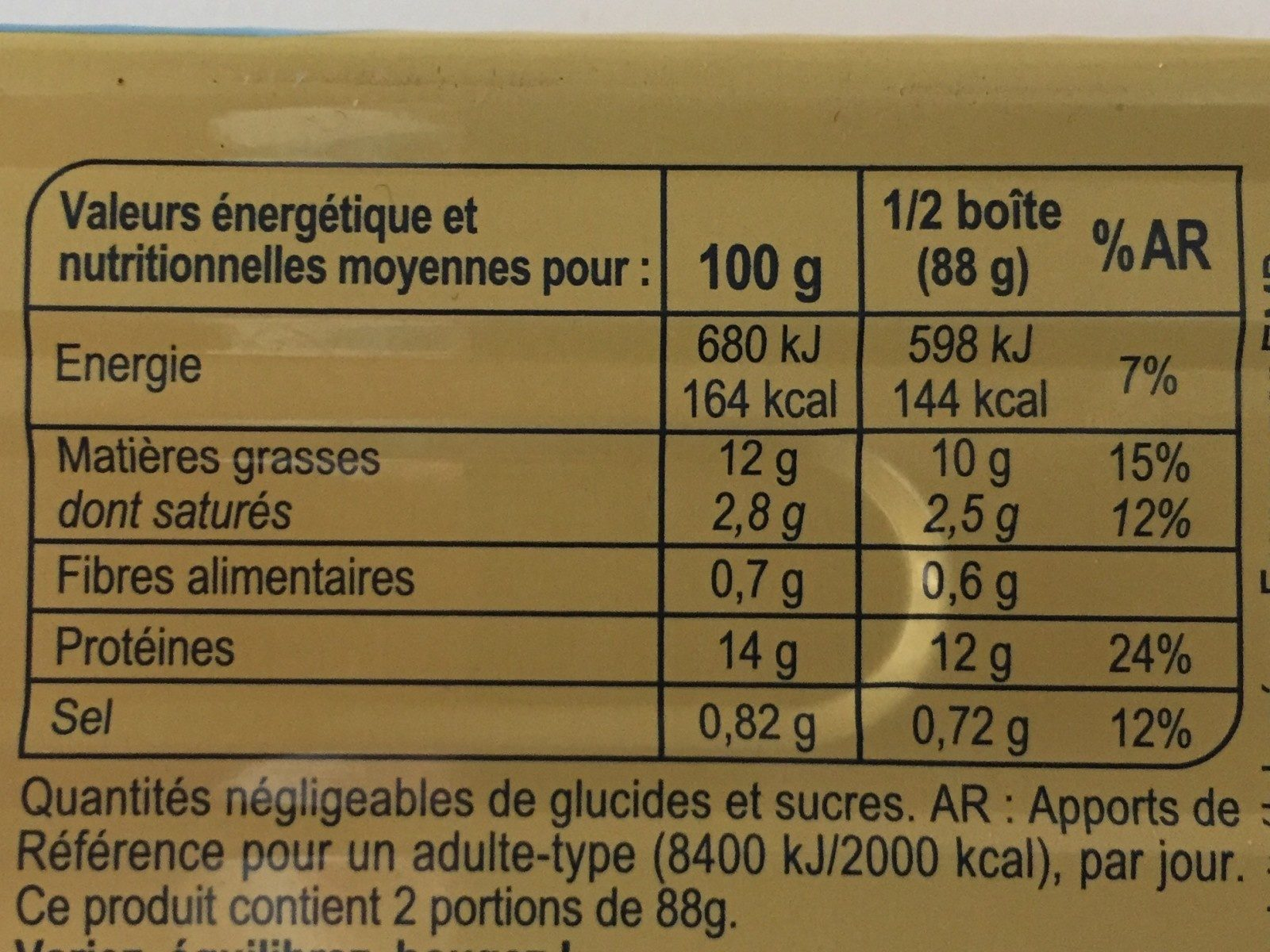 Filets de maquereaux marinés au muscadet et aux 5 aromates - Nutrition facts