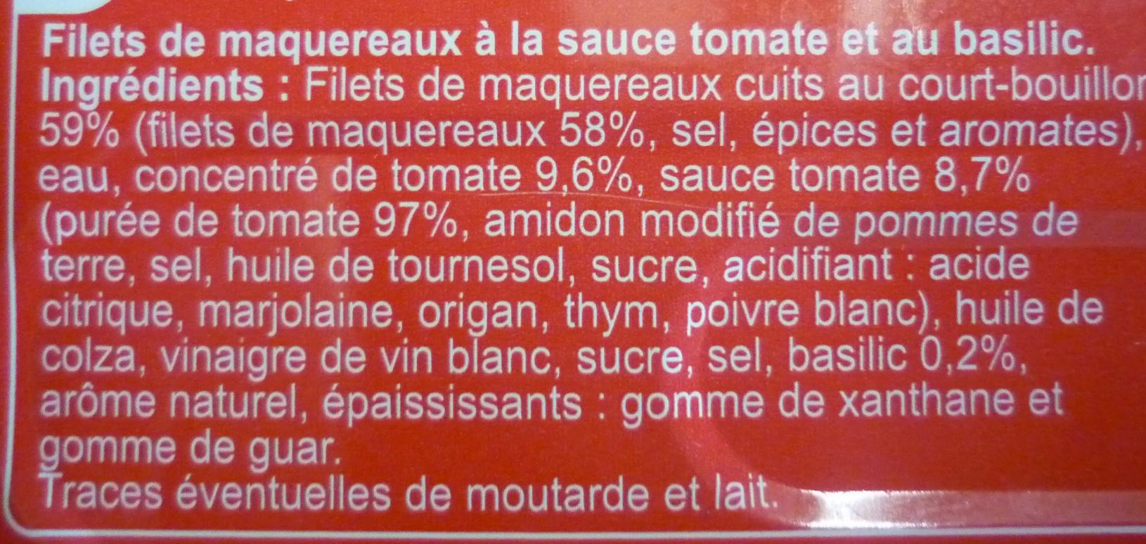 Filets de maquereaux sauce tomate et basilic - Ingrédients - fr