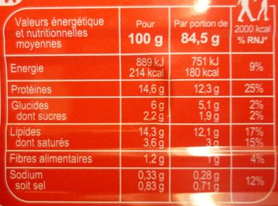 Filets de maquereaux sauce tomate et basilic - Informations nutritionnelles - fr