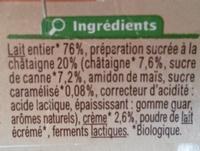 Yaourt brassé  Sur lit à la châtaigne  avec arômes naturels - Ingredients - fr