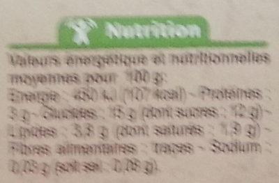 Yaourt brassé  Sur lit à la châtaigne  avec arômes naturels - Informations nutritionnelles