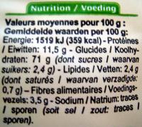 Fusilli Cuisson rapide Bio - Informations nutritionnelles