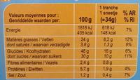 Cake au Chocolat - Nutrition facts - fr