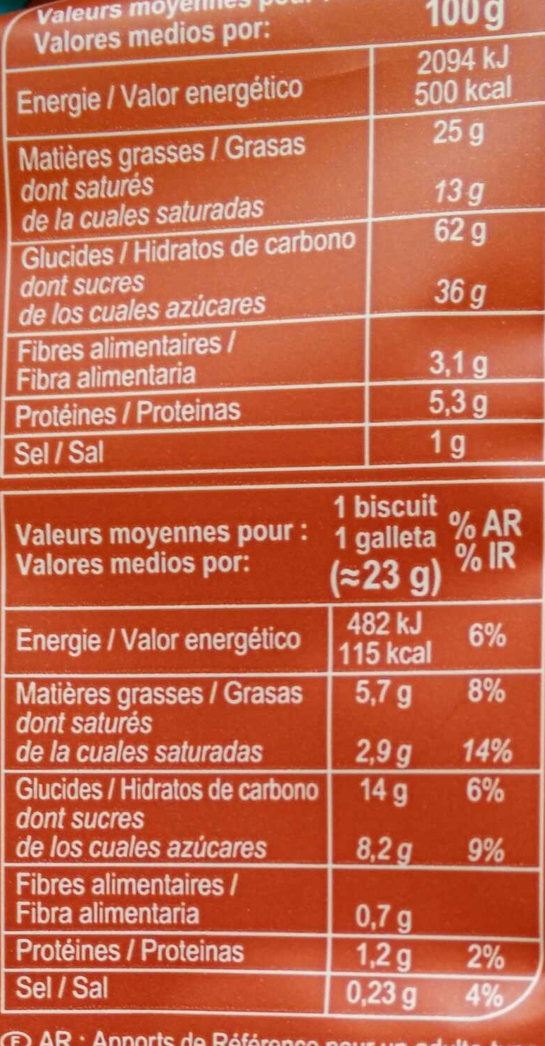 Cookies Big Rocks chocolat (x 8) - Informations nutritionnelles - fr