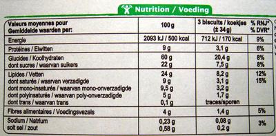 Biscuits bio blé épeautre sésame - Nutrition facts