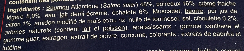 Saumon Sauce Fondue de Poireaux, Surgelé - Ingrediënten