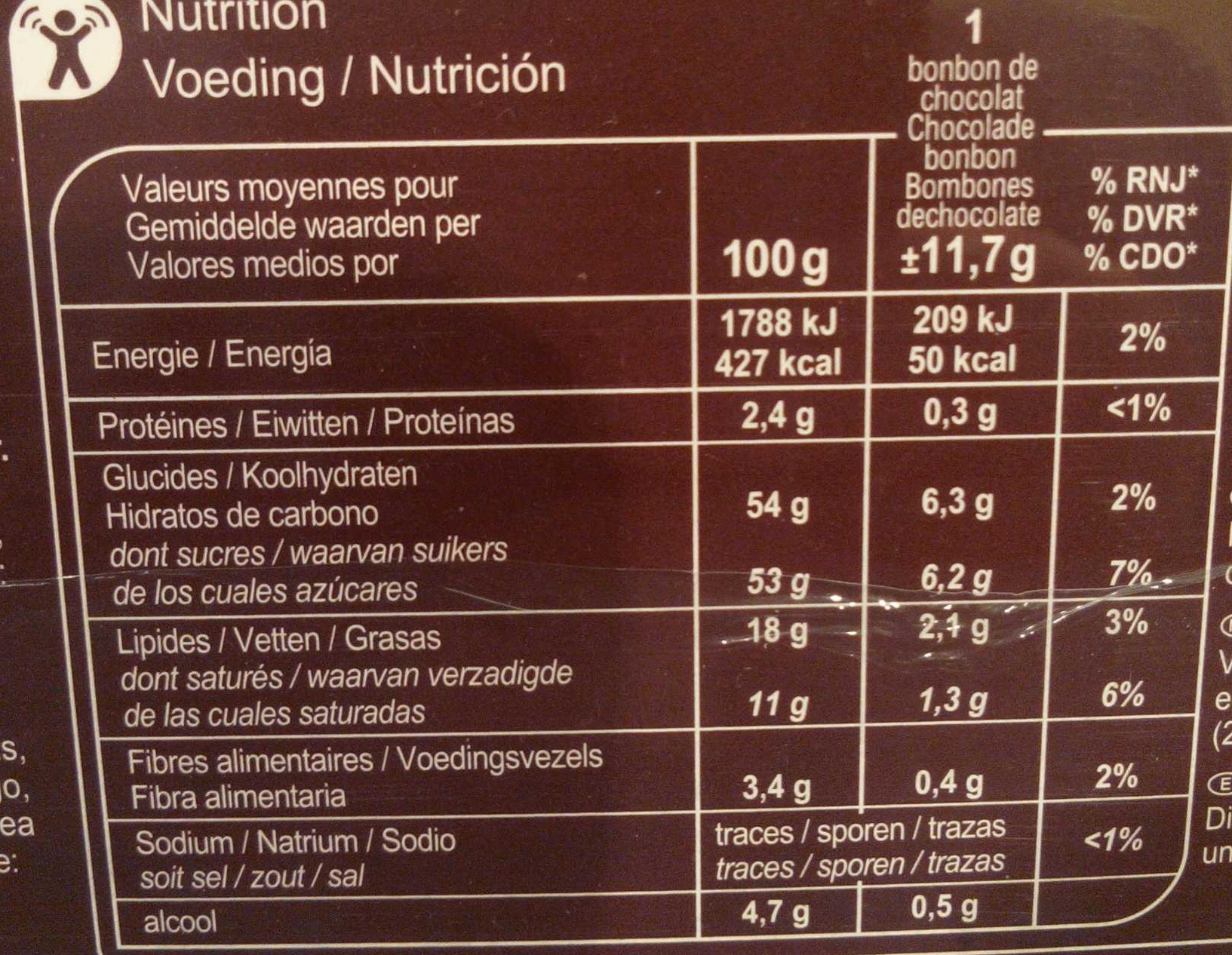 Chocolats à la liqueur - Valori nutrizionali - fr