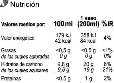 Zumoclementina100% exprimido - Nutrition facts - es
