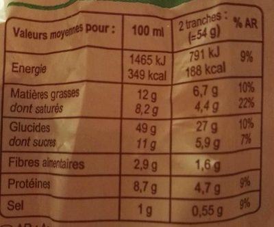 Brioche Tranchée Pur Beurre - Nutrition facts