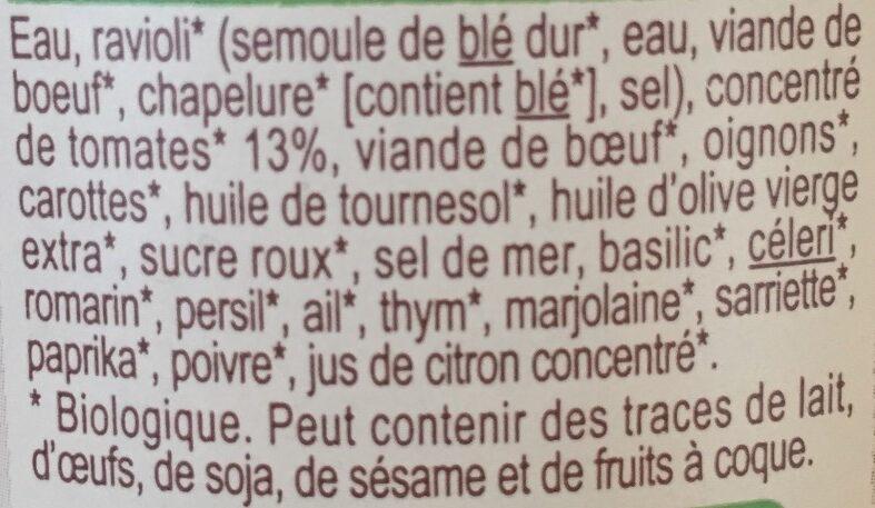 Ravioli pur boeuf - Ingredienti - fr