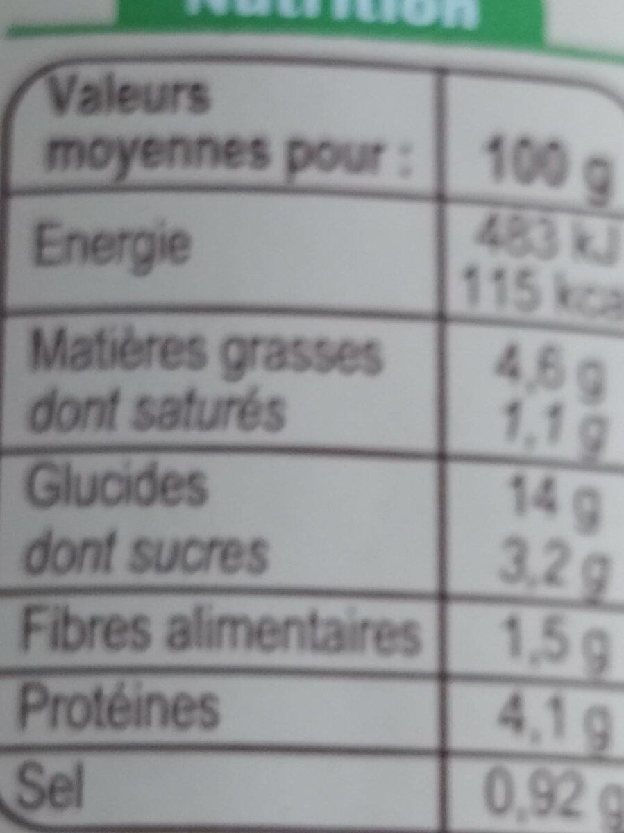 Ravioli pur boeuf - Valori nutrizionali - fr