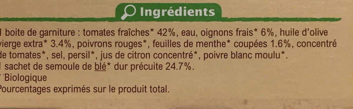 Taboulé à l'huile d'olive vierge extra 3.4% et à la menthe - Ingrediënten - fr