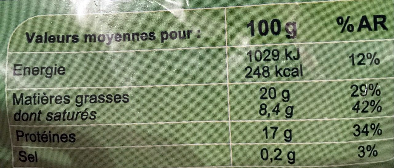 Viande hachée pur bœuf + traduction - Valori nutrizionali - fr