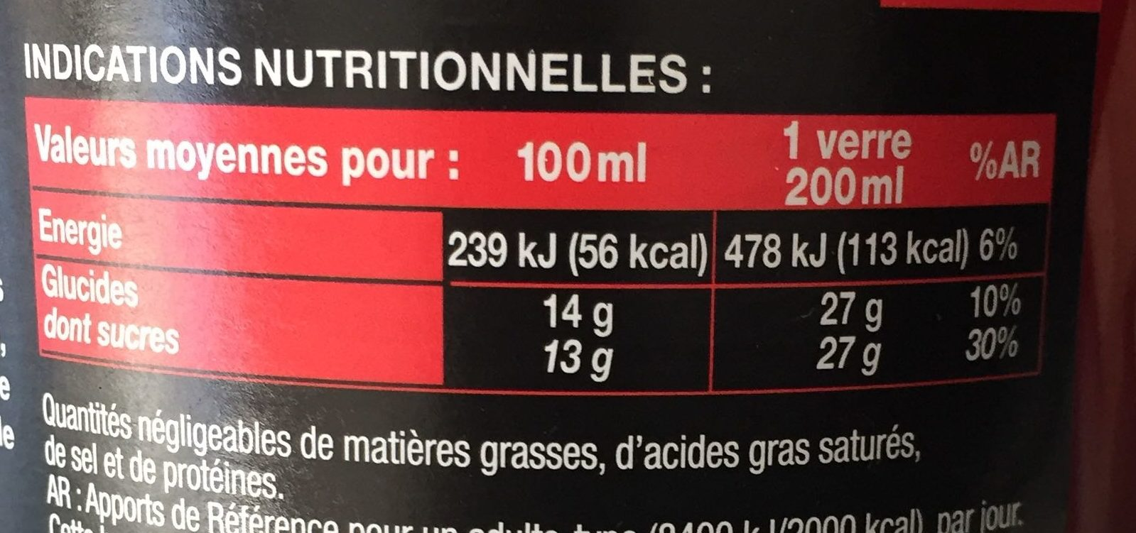 Saveur Fraise - Valori nutrizionali - fr