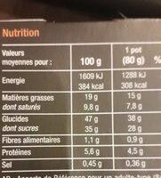 Tartelette au Caramel beurre salé - Voedingswaarden - fr