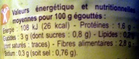 Haricots verts Extra-fins - Informations nutritionnelles