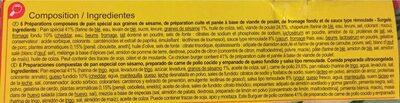 Chicken Burger - Informations nutritionnelles
