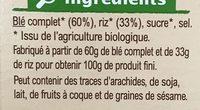 Pétales de blé complet et riz - Ingrédients
