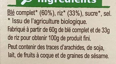 Pétales de blé complet et riz - Ingrediënten