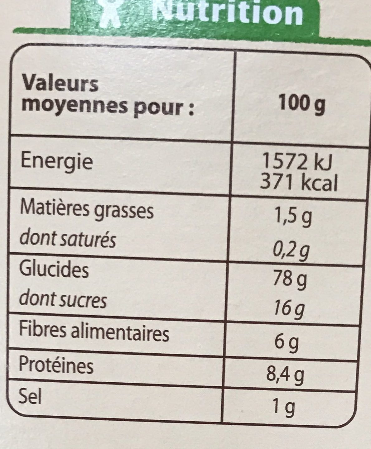 Pétales de blé complet et riz - Informations nutritionnelles