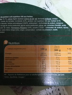 Pizza jambon emmental ricotta - Nutrition facts