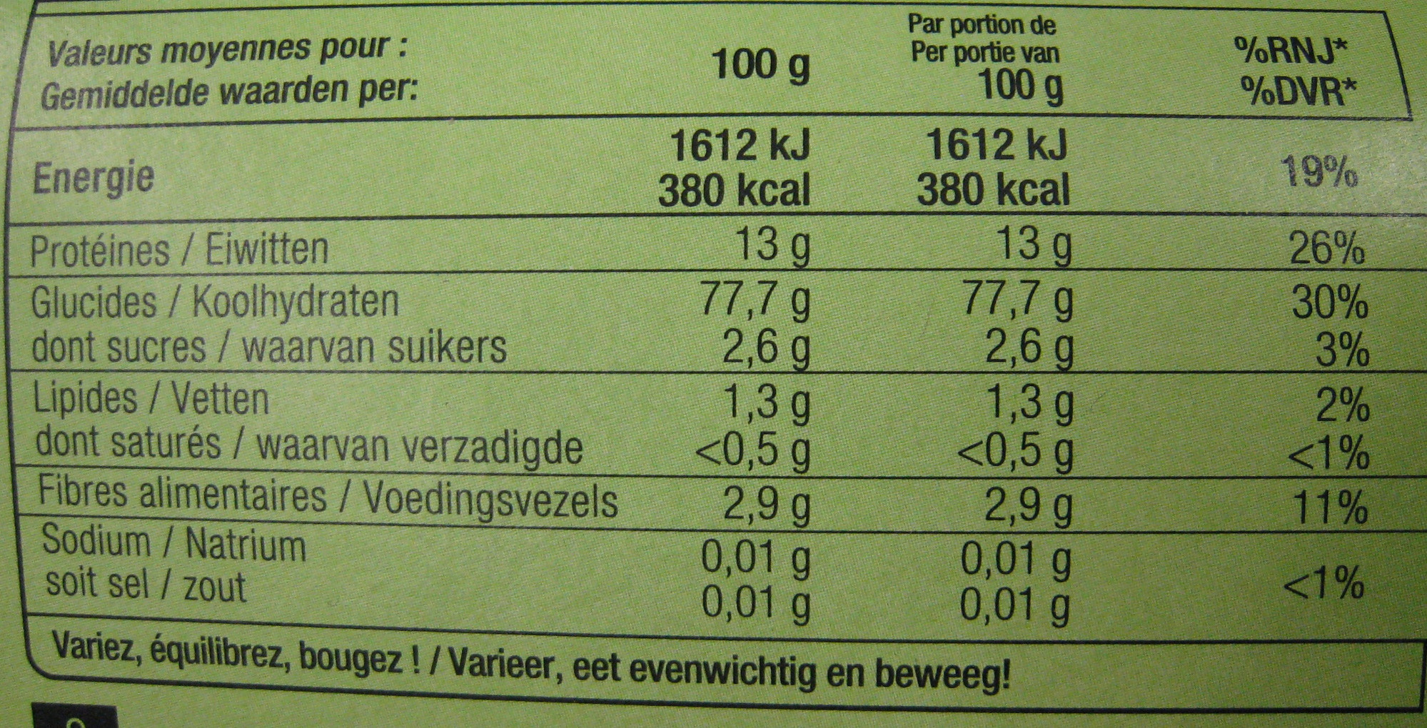 Trine - Nutrition facts