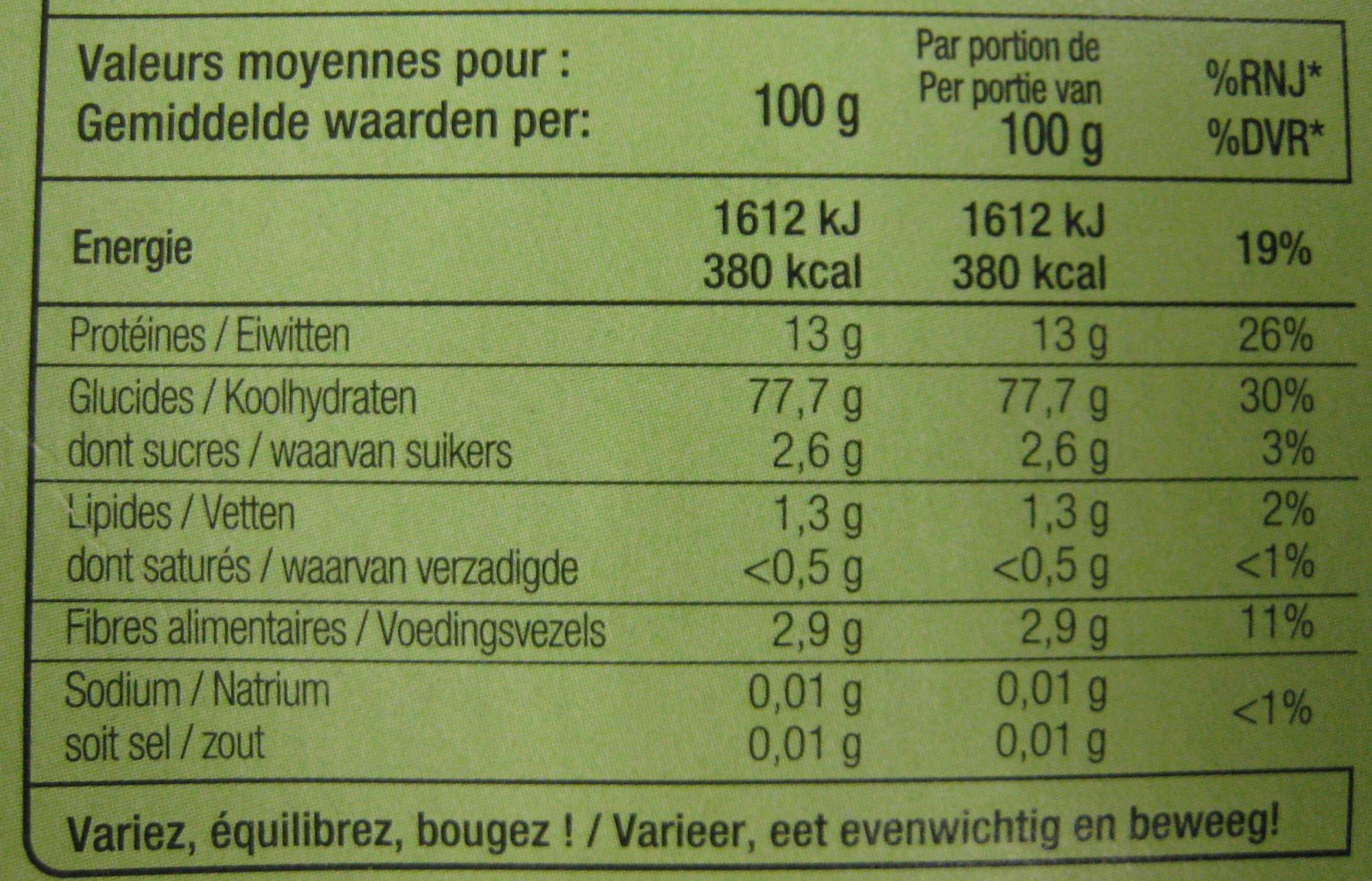 Galletti (Trafilata Al Bronzo) - Informations nutritionnelles