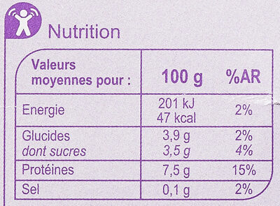 Fromage blanc Aromatisé aux fruits - Nutrition facts - fr