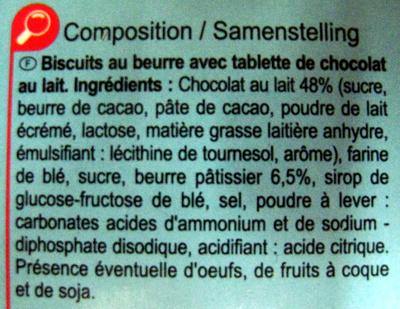 Le petit beurre  tablette  chocolat au lait - Ingrédients - fr