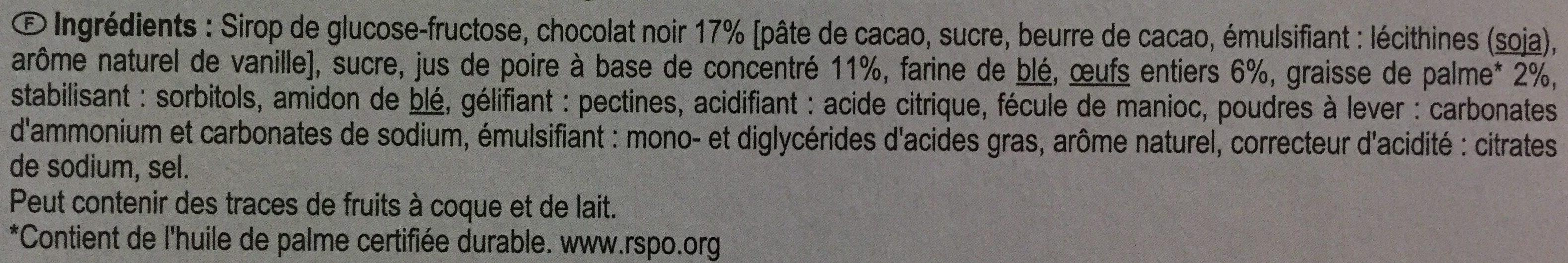 Génoises cœur à la poire nappage chocolat noir - Ingrediënten