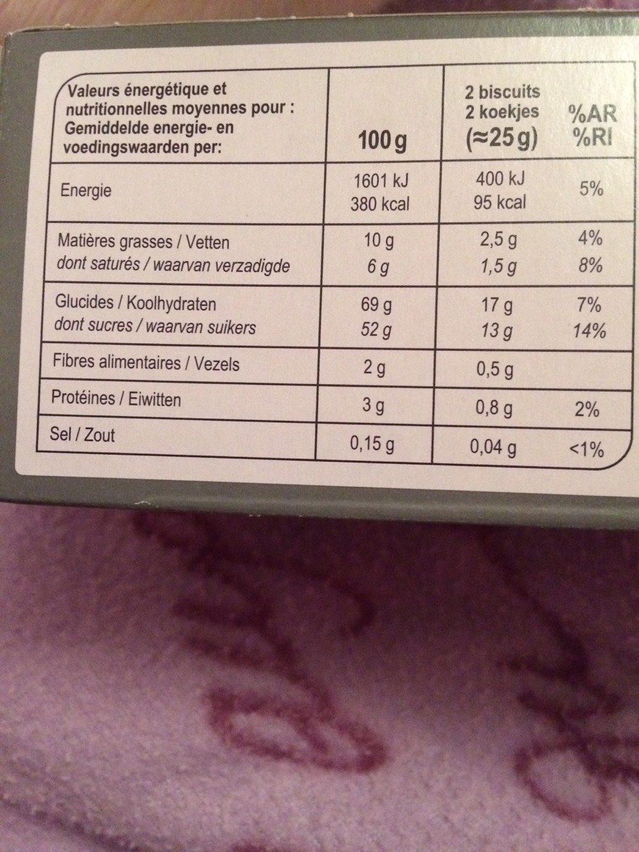 Génoises cœur à la poire nappage chocolat noir - Voedingswaarden