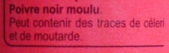 Poivre Noir Moulu - Ingrédients - fr