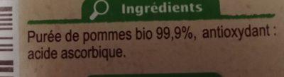 Compote de pomme bio - Ingrédients