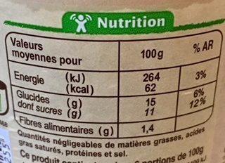 Compote de pommes - Información nutricional - fr