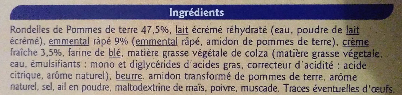 Gratin dauphinois surgelé - Ingredients