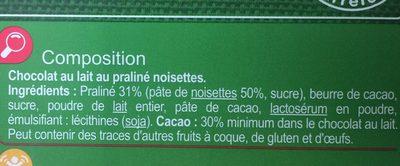 Praline chocolat dessert - Ingredients - fr